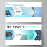 Business templates in HD format for presentation slides. Vector layouts in flat design. Chemistry pattern, connecting Stock Image
