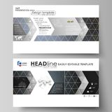 Business templates in HD format for presentation slides. Vector layouts in flat design. Colorful dark background with Royalty Free Stock Images