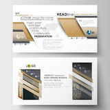 Business templates in HD size for presentation slides. Easy editable abstract layouts in flat design. Golden technology Royalty Free Stock Photo