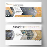 Business templates in HD size for presentation slides. Easy editable abstract layouts in flat design. Golden technology Royalty Free Stock Images