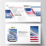 Business templates in HD size for presentation slides. Easy editable abstract layouts in flat design. Patriot Day Royalty Free Stock Photography