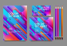 Business templates for multipurpose presentation. Easy editable vector EPS 10 layout. Northern Lights neon effect on purple background event party flyer Stock Images