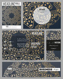 Business templates for presentation, brochure, flyer or booklet. Golden microchip pattern, abstract template with Stock Photography