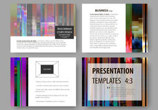 Business templates for presentation slides. Abstract layouts in vector design. Glitched background made of colorful Stock Photography