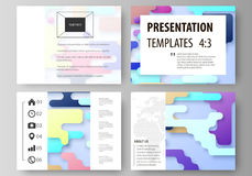 Business templates for presentation slides. Abstract vector design layouts. Bright color lines and dots, colorful Stock Images
