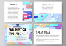 Business templates for presentation slides. Abstract vector design layouts. Bright color lines and dots, colorful Stock Photos