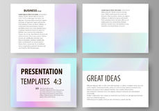 Business templates for presentation slides. Abstract vector layouts in flat design. Hologram, background in pastel. Set of business templates for presentation Stock Image