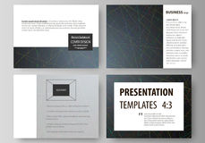 Business templates for presentation slides. Easy editable layouts in flat design. Colorful dark background with abstract Royalty Free Stock Photography