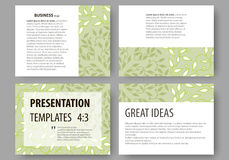 Business templates, presentation slides. Easy editable layouts, flat design. Green color background with leaves. Spa. Set of business templates for presentation Stock Image