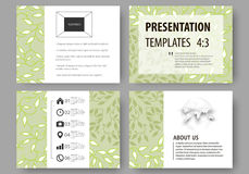 Business templates, presentation slides. Easy editable layouts, flat design. Green color background with leaves. Spa. Set of business templates for presentation Stock Images