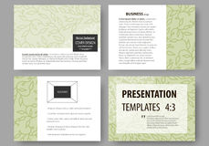 Business templates, presentation slides. Easy editable layouts, flat design. Green color background with leaves. Spa. Set of business templates for presentation Royalty Free Stock Photos