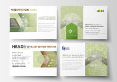 Business templates, presentation slides. Easy editable layouts, flat design. Green color background with leaves. Spa. Set of business templates for presentation Royalty Free Stock Image