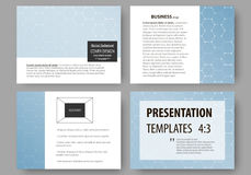 Business templates for presentation slides. Easy editable vector layouts. Chemistry pattern, hexagonal molecule. Structure, scientific or medical research Royalty Free Stock Photos