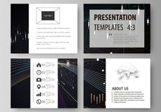 Business templates for presentation slides. Vector layouts. Black color abstract infographic background in minimalist Stock Photo