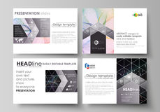 Business templates for presentation slides. Vector layouts. Colorful abstract infographic background in minimalist. Set of business templates for presentation Royalty Free Stock Images