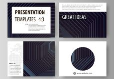 Business templates for presentation slides. Vector layouts in flat style. Abstract polygonal background with hexagons. Set of business templates for presentation vector illustration