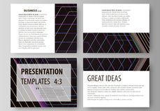 Business templates for presentation slides. Vector layouts in flat style. Abstract polygonal background with hexagons. Set of business templates for presentation Royalty Free Stock Images