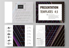 Business templates for presentation slides. Vector layouts in flat style. Abstract polygonal background with hexagons. Set of business templates for presentation Royalty Free Stock Image