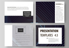 Business templates for presentation slides. Vector layouts in flat style. Abstract polygonal background with hexagons. Set of business templates for presentation Royalty Free Stock Photography
