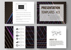 Business templates for presentation slides. Vector layouts in flat style. Abstract polygonal background with hexagons. Set of business templates for presentation Stock Photo