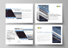 Business templates for presentation slides. Vector layouts in flat style. Abstract polygonal background with hexagons. Set of business templates for presentation Royalty Free Stock Photos