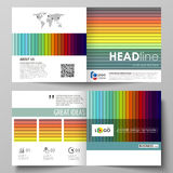 Business templates for square bi fold brochure, flyer, report. Leaflet cover, vector layout. Bright color rectangles Stock Photo