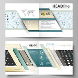Business templates for square bi fold brochure, magazine, flyer, booklet. Leaflet cover Stock Photos