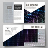 Business templates for square bi fold brochure, magazine, flyer, booklet. Leaflet cover, flat layout. Abstract colorful Stock Image