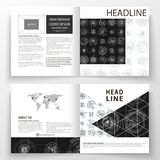 Business templates for square bi fold brochure, magazine, flyer. Leaflet cover, flat layout. High tech design. Connecting system. Science and technology Royalty Free Stock Photos