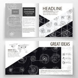 Business templates for square bi fold brochure, magazine, flyer. Leaflet cover, flat layout. High tech design. Connecting system. Science and technology Stock Photography