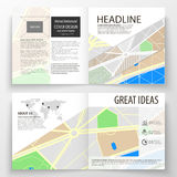 Business templates for square bi fold brochure, magazine, flyer, report. Leaflet cover, easy editable layout. City map Stock Photo