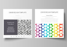 Business templates for square brochure, flyer. Leaflet cover, abstract vector layout. Chemistry pattern, hexagonal Stock Photos
