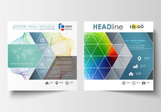 Business templates for square brochure, magazine, flyer, annual report. Leaflet cover, flat layout, easy editable vector Stock Photography