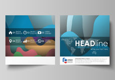 Business templates for square brochure, magazine, flyer, booklet or annual report. Leaflet cover, flat style vector Stock Image