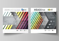 Business templates for square brochure, magazine, flyer. Leaflet cover, vector layout. Bright color rectangles, colorful. Business templates for square design stock illustration