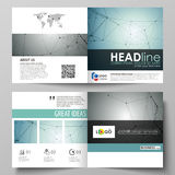 Business templates for square design bi fold brochure, flyer, booklet or annual report. Leaflet cover, abstract vector Stock Photos