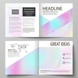 Business templates for square design bi fold brochure, flyer. Leaflet cover, vector layout. Hologram, background  Stock Image