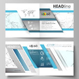 Business templates for square design bi fold brochure, flyer, report. Leaflet cover, vector layout. Chemistry pattern Royalty Free Stock Image