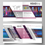 Business templates for square design bi fold brochure, magazine, flyer. Leaflet cover, abstract vector layout. Glitched Stock Photography
