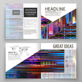 Business templates for square design bi fold brochure, magazine, flyer. Leaflet cover, abstract vector layout. Glitched Royalty Free Stock Image