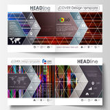 Business templates for square design bi fold brochure, magazine, flyer. Leaflet cover, abstract vector layout. Glitched Stock Photos