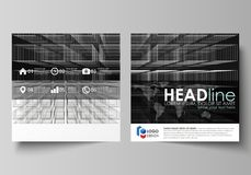 Business templates for square design brochure, flyer, booklet. Business templates for square design brochure, magazine, flyer, booklet or annual report. Leaflet stock illustration