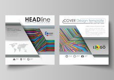 Business templates for square design brochure, flyer. Leaflet cover, abstract flat vector layout. Bright color lines Stock Images