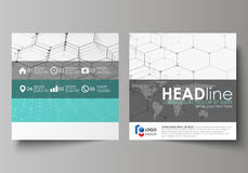 Business templates for square design brochure, flyer, report. Leaflet cover, abstract vector layout. Chemistry pattern Royalty Free Stock Photography