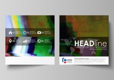 Business templates for square design brochure, flyer, report. Leaflet cover, abstract vector layout. Glitched background. Business templates for square design stock illustration