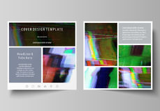 Business templates for square design brochure, flyer, report. Leaflet cover, abstract vector layout. Glitched background Stock Photos