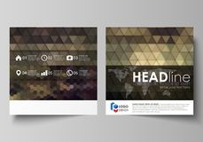 Business templates for square design brochure, magazine, flyer, booklet or report. Leaflet cover, vector layout. Business templates for square design brochure Royalty Free Stock Image