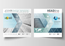 Business templates for square design brochure, magazine, flyer, booklet, annual report. Leaflet cover, flat layout Stock Images