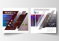 Business templates for square design brochure, magazine, flyer, booklet. Leaflet cover, abstract vector layout. Glitched Stock Image