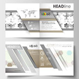 Business templates for square design brochure, magazine, flyer, booklet. Leaflet cover, flat layout, easy editable blank Royalty Free Stock Photo